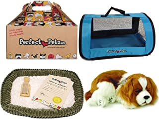 Perfect Petzzz Breathing Cavalier King Charles Plush with Blue Tote