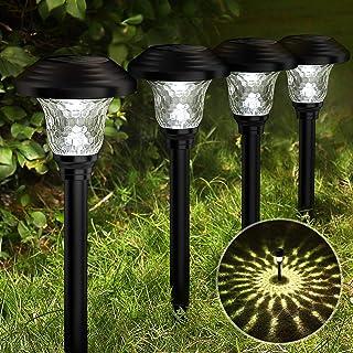 Balhvit Glass Solar Lights Outdoor, 8 Pack Super Bright Solar Pathway Lights, Up to 12 Hrs Long Last Auto On/Off Garden Li...