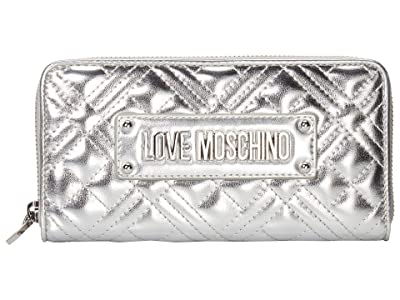 LOVE Moschino Quilted Zip Around Wallet (Silver) Handbags