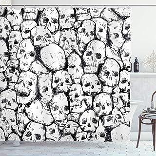 (180cm W By 190cm L, Multi 19) - Skull Decorations Shower Curtain by Ambesonne, Conjoined Head Motifs Spooky War Death Fos...