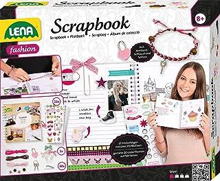 LENA 42331 Scrapbook Kit de Scrapbooking Complet avec Cadenas 22 bâtons de Broderie avec 370 Motifs et Coins Photo et Acce...