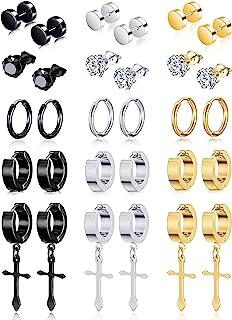 Ofeiyaa 15 Pairs Stainless Steel Cross Dangle Hinged Earrings Hoop Huggie Earrings CZ Stud Earrings Set for Men Women Ear ...