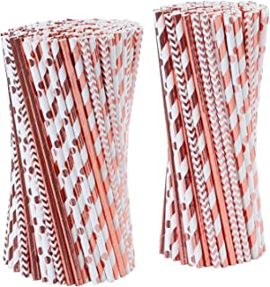 Tupa 100 Piezas Pajitas de Papel de Oro Rosa Pajitas de Papel Desechables Papel de Aluminio Biodegradable Pajitas de Papel de Rayas y Oro Sólido para Fiestas de Bbodas Decoraciones (100)