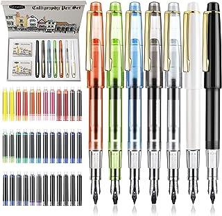 GC QUILL. Juego de 7 plumas con plumillas de diferentes tamaños y 36 cartuchos de tinta variados para inscripciones y cali...
