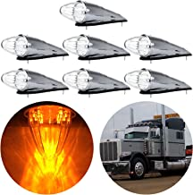 cciyu Clear 17 LED Cab Roof Light Chrome Torpedo Cab Marker Clearance Roof Running Top Light Assembly Replacement fit for Heavy Duty Trucks Kenworth Peterbilt Freightliner Mack(7Pcs)