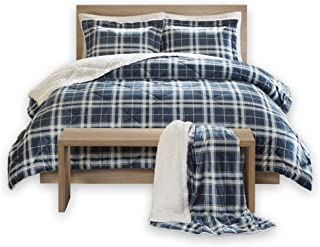 Comfort Spaces Aaron Sherpa 3 Piece Comforter and Throw Combo Set, Soft and Warm Checker Plaid Pattern Cold Weather Bedding, Twin, Blue