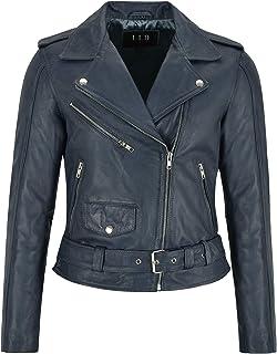 Giacca in Pelle da Donna Perfecto Slim Fit Biker Rock Top Giacca in Vera Pelle Blu Cera MB124
