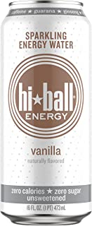 Hiball Energy Sparkling Water, Vanilla, 16 Ounce (Pack of 12)