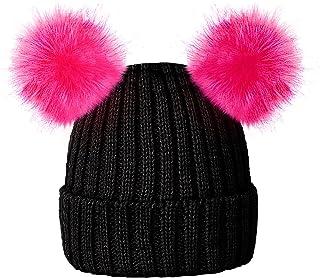 bfb2eeb5e8ebc RockJock Enfants Filles Chapeau Chaud Bonnet Doux d'hiver avec Deux  Oreilles Pompon de Fourrure