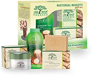 DE LEAF THANAKA Natural Beauty Gift Set, Talc Powder Gentle Mild Soap Moisturizer Cream Unisex Body Face Facial Paraben Free No SLS Skin Care Anti Acne Aging Brightening All Skin Types for Women
