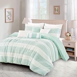 King Comforter Set 7 Piece Stripes Cotton Blend Soft Lightweight Down Alternative Beige Aqua Light Mint Green Sleek Modern...
