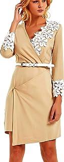 فساتين الخريف من Ashir Aley كاجوال للنساء متوسطة الطول ملفوفة للعمل فستان برقبة على شكل حرف V مقاس إضافي
