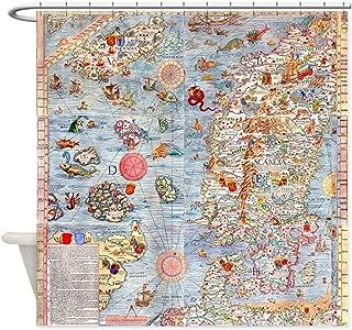 CafePress Carta Marina Sea Monster Map Decorative Fabric Shower Curtain (69