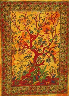 Aunercart Yellow Orange Twin Tapestry Indian Traditional Tree of Life Cotton Mandala Tapestry Wall Hanging Art Indian Tapestries Home Decor Bedspread Collage Drom Decor Throw 85x55 Inches