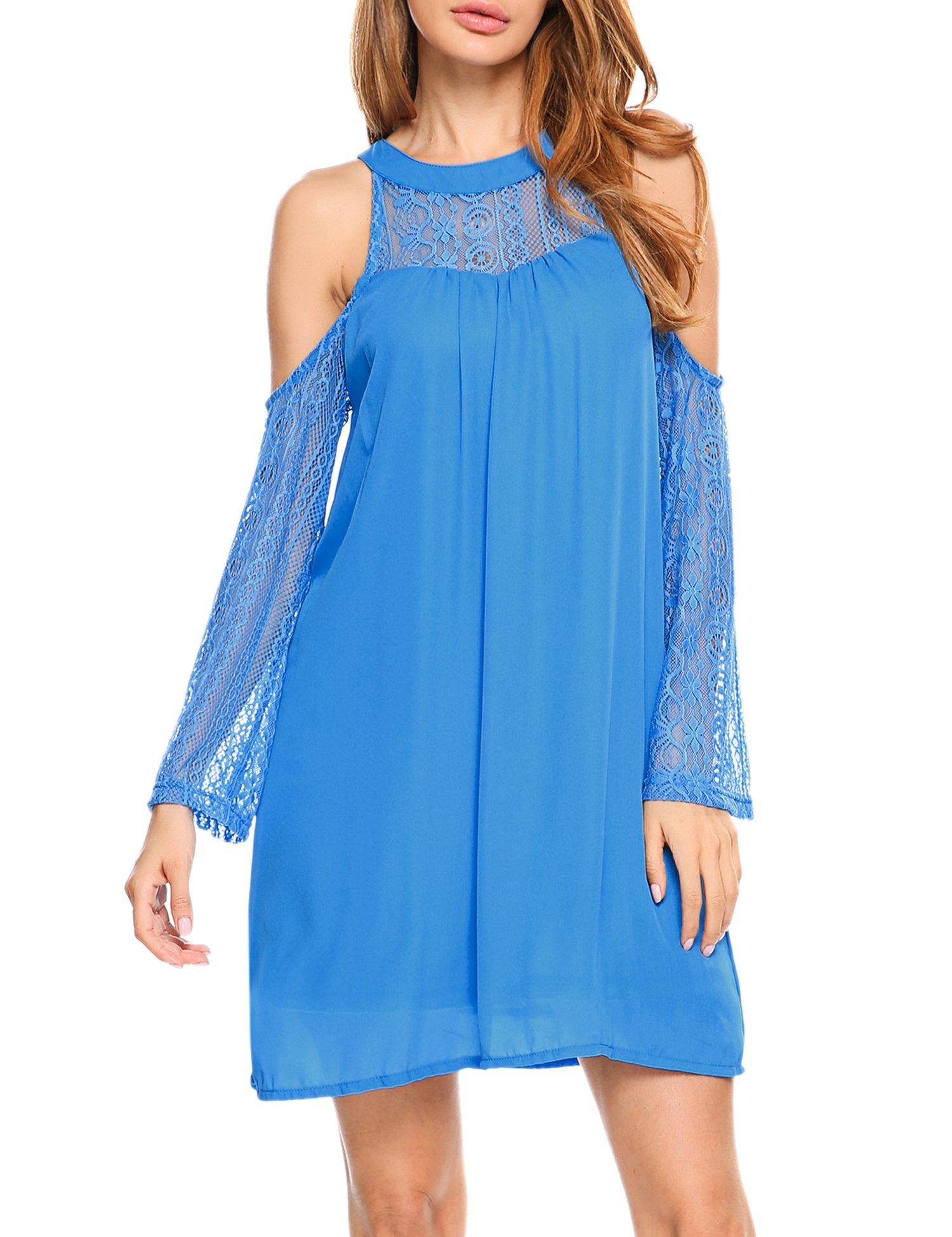 Available at Amazon: ACEVOG Women's Retro Floral Lace Dress 3/4 Sleeve Chiffon Maxi Dresses