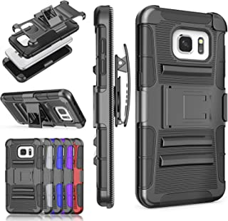 Galaxy S7 Edge Case, TILL [Knight Armor] Heavy Duty Full-body Rugged Holster Resilient Protective Case [Belt Swivel Clip][Kickstand] Combo Cover Shell For Samsung Galaxy S7 Edge G935 All Model [Black]