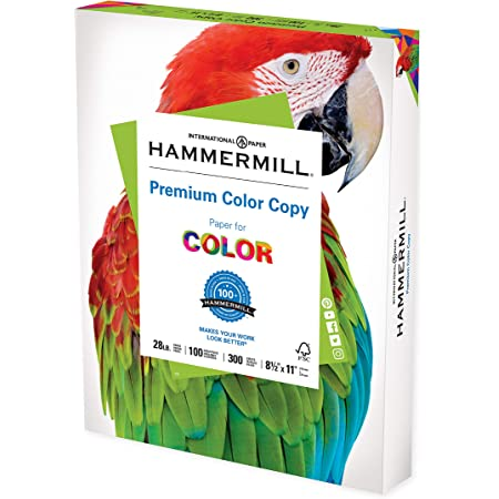 Hammermill Printer Paper, Premium Color 28 lb Copy Paper, 8.5 x 11 - 1 Pack (300 Sheets) - 100 Bright, Made in the USA, 102700R