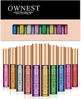 Ownest 10 colori Liquid Eyeliner glitter, metallico luccichio Glitter ombretto, duraturo impermeabile luccichio scintillan...