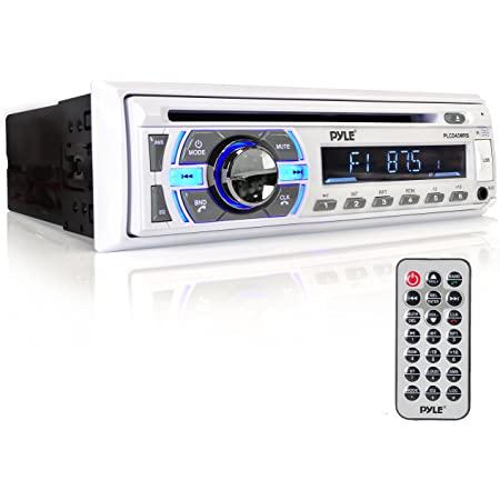 Boat Bluetooth Marine Stereo Receiver - Marine Head Unit Din Single Stereo Speaker Receiver - Wireless Music Streaming/Hands-Free Calling/CD Player/MP3/USB/AUX/ marine AM FM Radio - Pyle PLCD43MRB