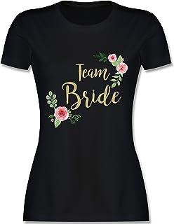 JGA Junggesellinnenabschied - Team Bride Blumen Vintage - Damen Tshirt und Frauen T-Shirt