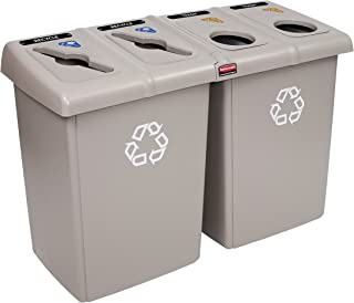 Rubbermaid Commercial 1792374 Glutton Recycling Station, 4-Stream, 92-Gallon, Beige