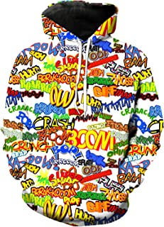 Adult Pullover Hoodie 3D Digital Printed Casual Tops with Pockets Unisex