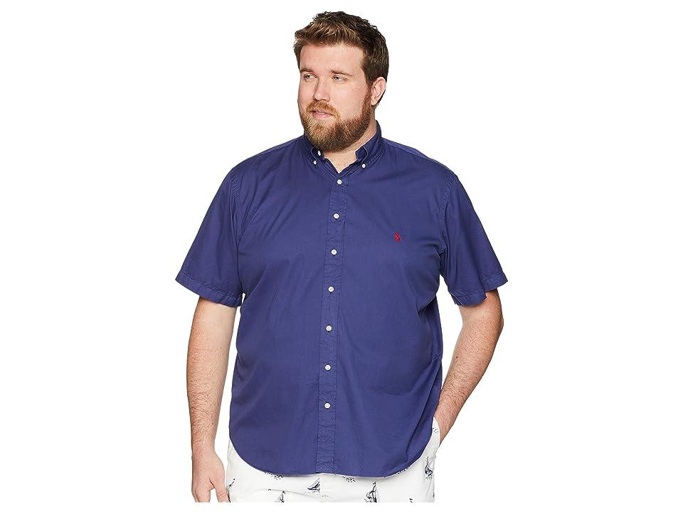Polo Ralph Lauren Big Tall Garment Dyed Chino Short Sleeve Sport Shirt (New Classic Navy) Men