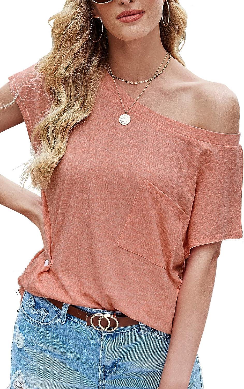 Aifer Womens Shirts Off Shoulder Tops Casual Short/Long Sleeve T Shirt Boat Neck Blouse Tops