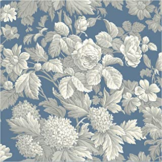 York Wallcoverings French Antique Floral Removable Wallpaper, Wedgwood Blue/Gray/White