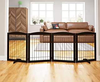 PAWLAND 96-inch Extra Wide Dog gate for The House, Doorway, Stairs, Freestanding Foldable Wire Pet Gate, Set of Support Feet Included (Espresso, 30