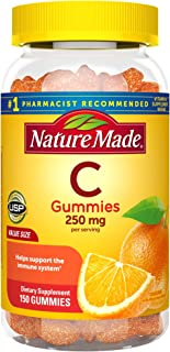 Nature Made Vitamin C Gummies 250 mg, 150 Count Value Size, For Immune Support, Antioxidant Support, Collagen Support for ...