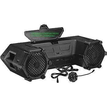 Planet Audio PATV85 ATV UTV Weatherproof Sound System - 6.5 Inch Speakers, 1.5 Inch Tweeters, Built-in Amplifier, Bluetooth. Built-in LED Lightbar, Easy Installation for 12 Volt Vehicles