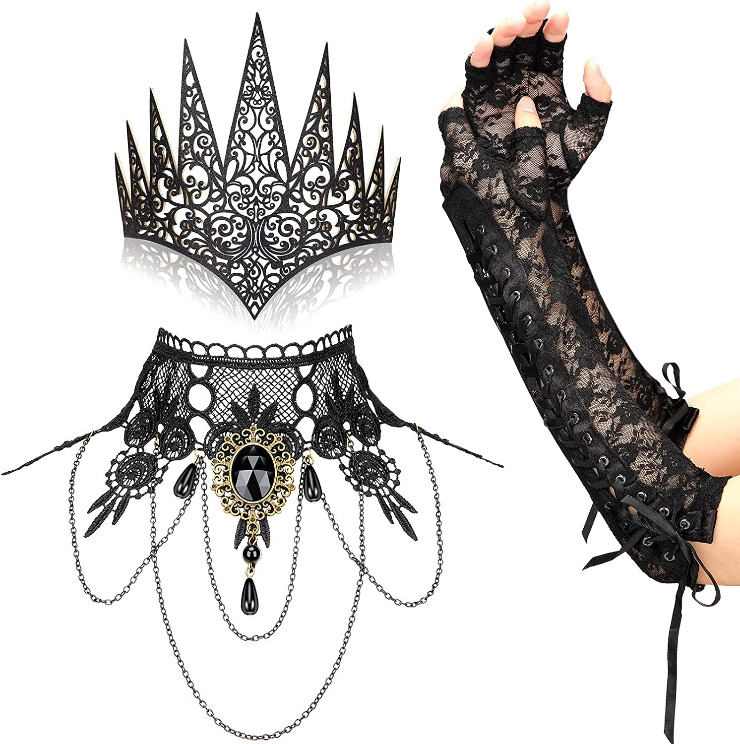4 Pieces Halloween Super sale period limited Gothic Costume Lace Choke Jewelry Set Vintage Inexpensive