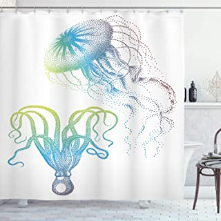 "Ambesonne Octopus Shower Curtain, Octopus and Jellyfish Illustration Nautical Themed Art Underwater Wildlife Marine, Cloth Fabric Bathroom Decor Set with Hooks, 84"" Long Extra, White Blue"