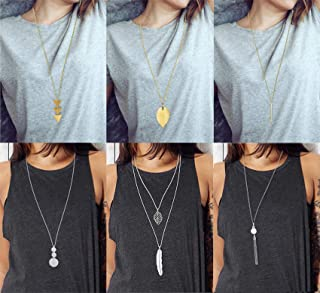 Anlsen 6 PCS Long Pendant Necklace for Women Girls Simple Bar Layer Three Triangle Tassel Y Charm Necklace Set