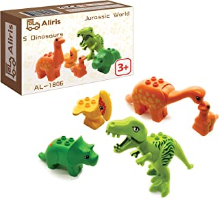 Aliris Jurassic - 5 Dinosaurs - Dino Zoo Park T-Rex Set for Toddler - Compatible with Leading Brand Building Blocks