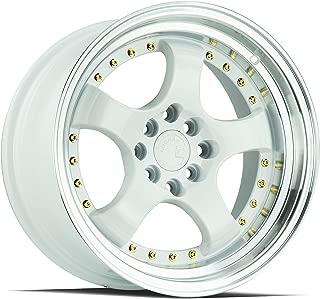 AodHan AH03 Wheel - White Machined Lip (Gold Rivets): 16x8 Wheel Size; 4x100/114.3 Lug Pattern; 73.1mm Hug Bore; 15mm Off Set.