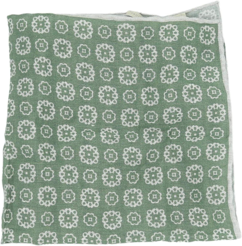 Paolo Albizzati Men's Green W White Medallians Linen Pocket Square