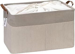 Hinwo 31L Large Capacity Storage Basket with Handles, Canvas Fabric Storage Bin, Rectangle Storage Box, Clothes, Toys Orga...