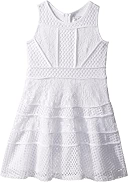 Lace And Mesh Fit-and-Flare Dress (Big Kids)