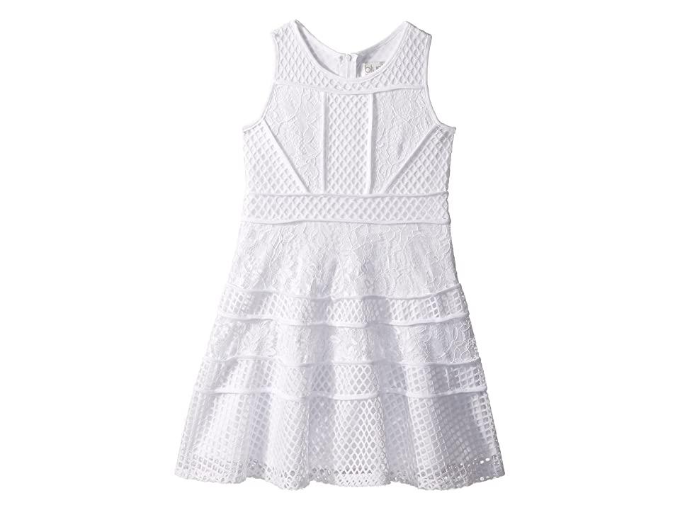 Us Angels Lace And Mesh Fit-and-Flare Dress (Big Kids) (White) Girl