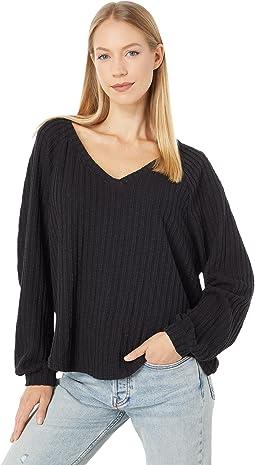 Holden Sweater Knit Raglan V-Neck Top