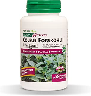 NaturesPlus Herbal Actives Coleus Forskohlii - 125 mg, 60 Vegan Capsules - Heart Support Supplement, Supports Healthy Metabolism - Vegetarian, Gluten-Free - 60 Servings