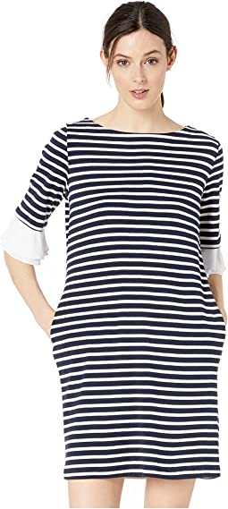 Stripe Knit Removable Cuff Dress