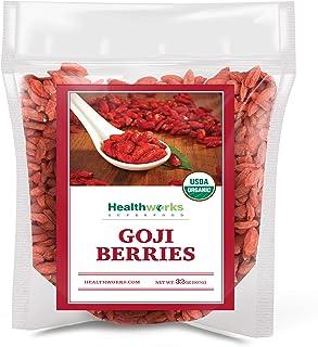 Healthworks Raw Goji Berries (32 Ounces / 2 Pound) | Certified Organic & Sun-Dried | Keto, Vegan & Non-GMO | Baking, Teas...