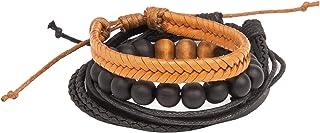 Sponsored Ad - Damen + Hastings Men's Multi-Pack Braided Beaded Stackable Casual Bracelet Set
