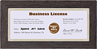 Space Art Deco 4x9 Dark Brown Textured Frame - Easel Stand - D-Ring Hangers - For Business License and Certificates - Desk/Table Top Display - Glass