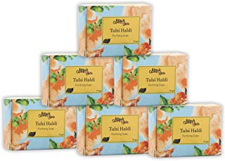 Mirah Belle - Organic Tulsi Haldi Purifying Soap Bar (Pack of 6-125 gm) - For Acne, Breakouts, Pimples and Blemishes, Help...