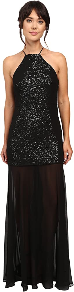 Halter Sequin High-Low Gown