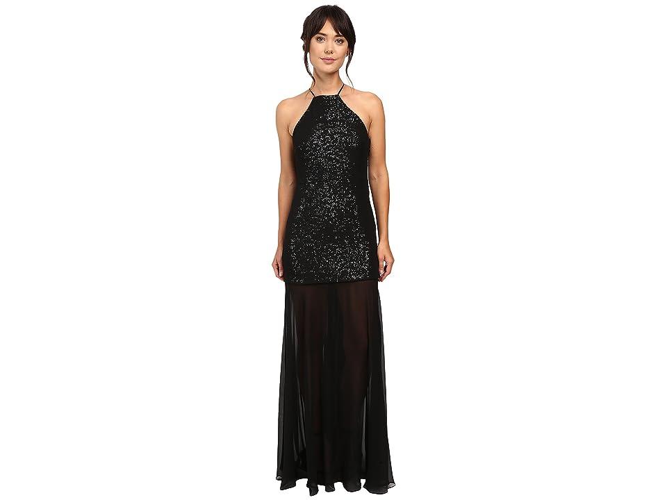 Halston Heritage Halter Sequin High-Low Gown (Black/Gunmetal) Women
